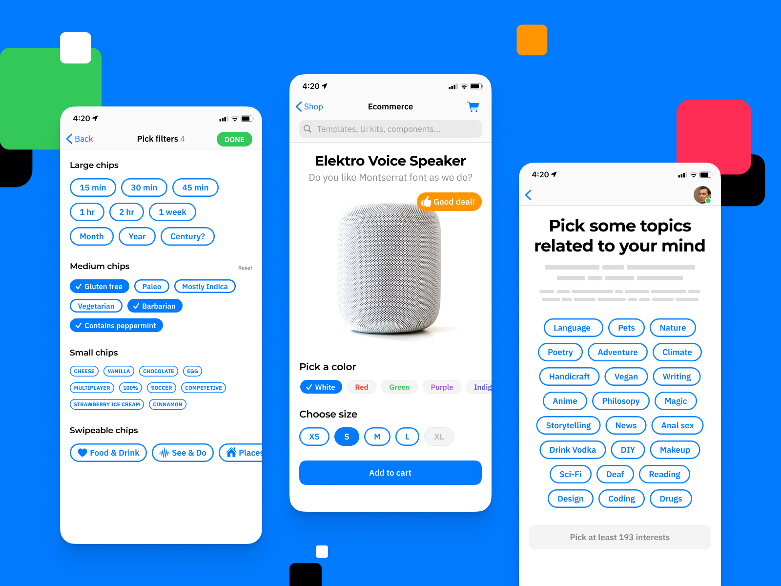 iOS UI kit for Figma - Chips, Selection, Filters design system templates ui kit ui app figma iphone apple ios shopping ecommerce mobile filter selection chips