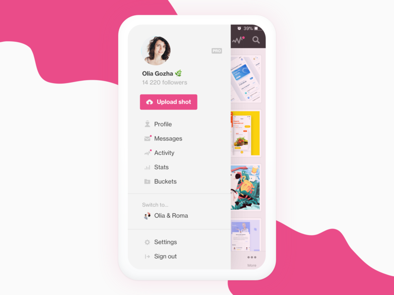 Dribbble iOS app ideas by Olia Gozha