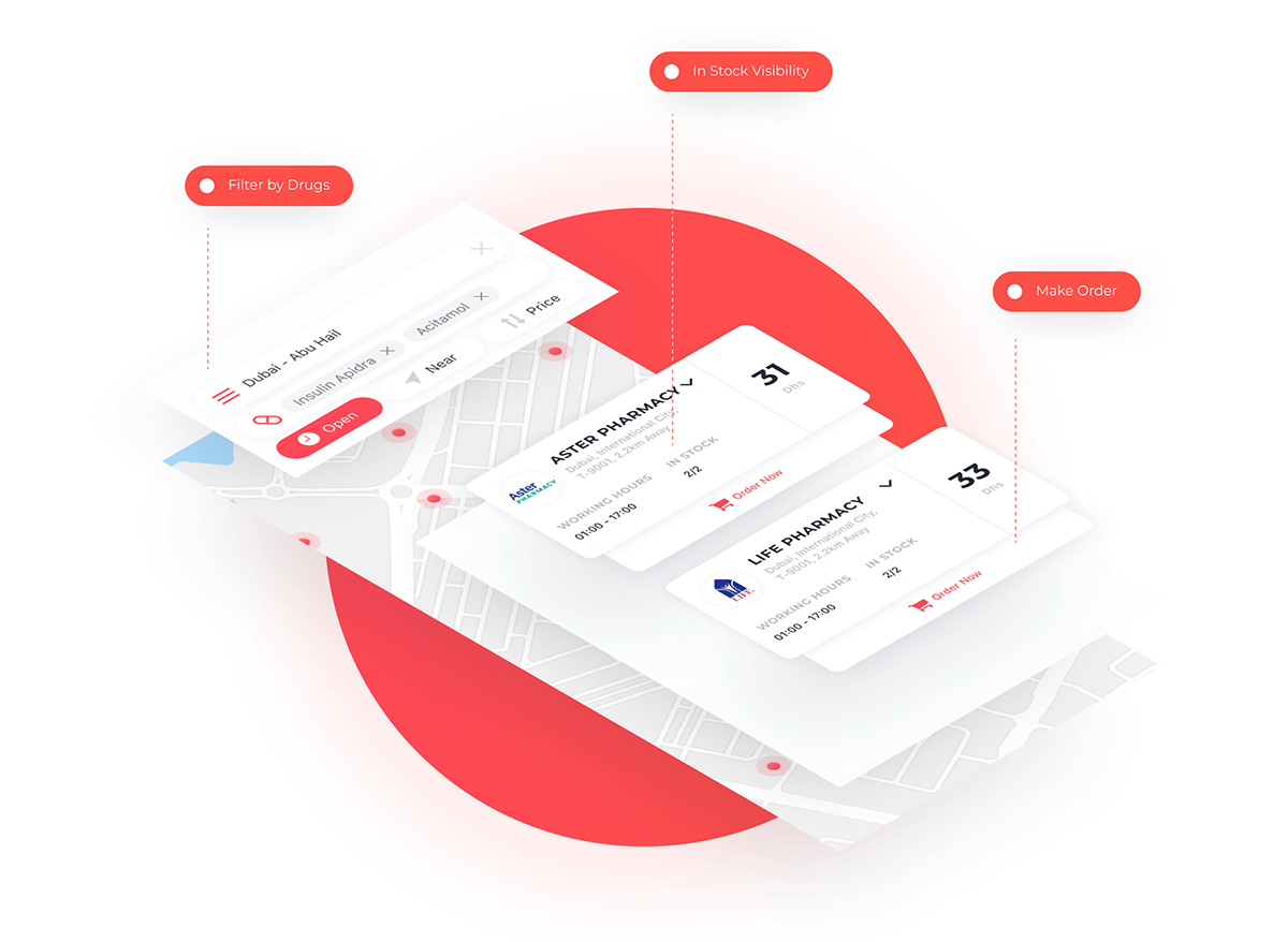 Smart Pharmacy mobile app design elements