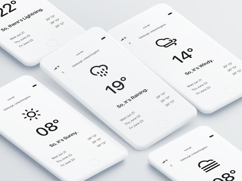 Minimalistic design mobile app