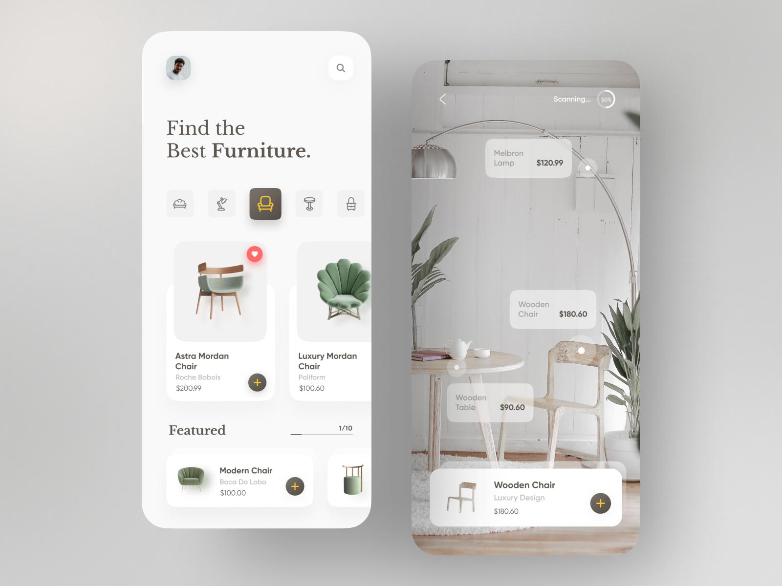 Minimalist mobile app UI design