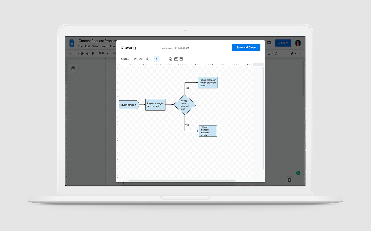 Flowchart Software for Mac - Google Docs interface