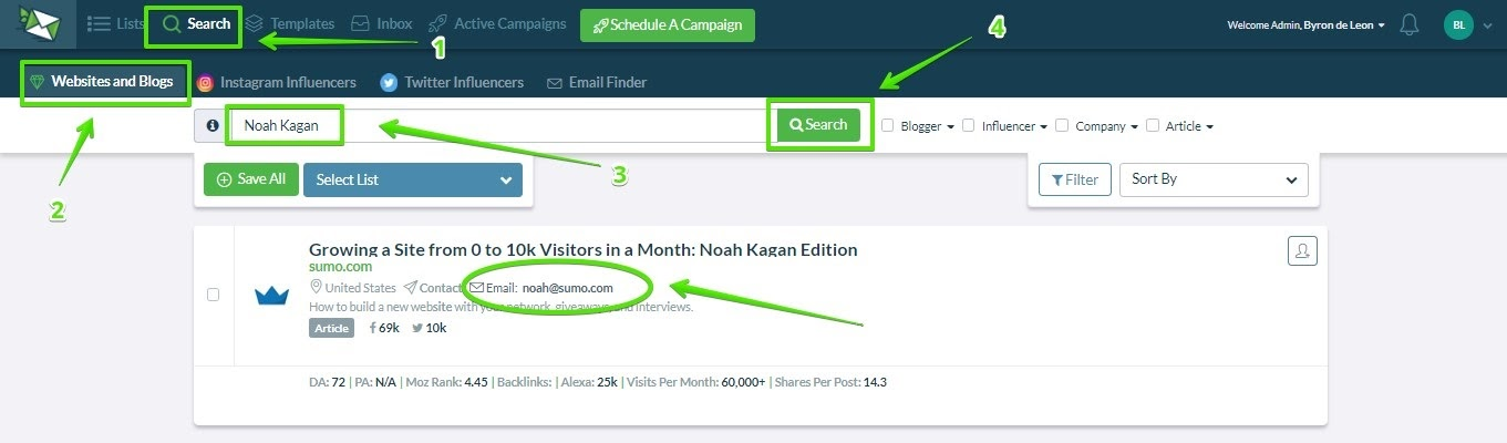 search for influencers ninja outreach
