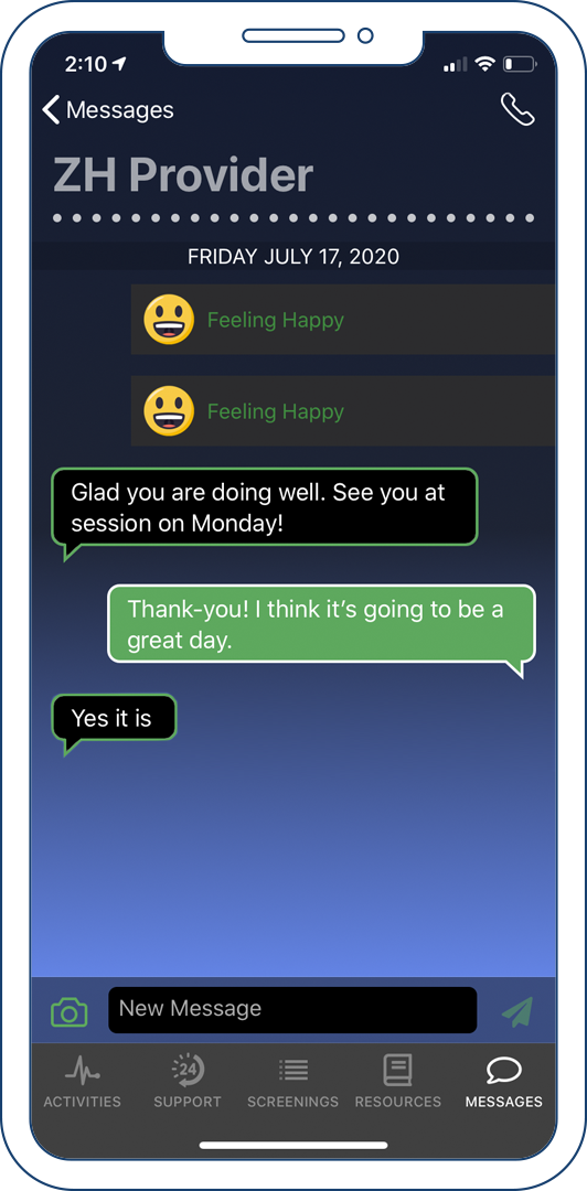 The messages tab of the Connected Care client app.