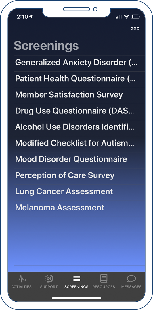 The screenings tab of the Connected Care client app.