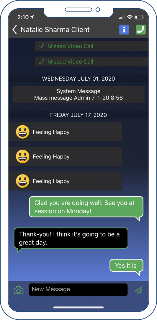 A message conversation between a coach and client on the coach app.