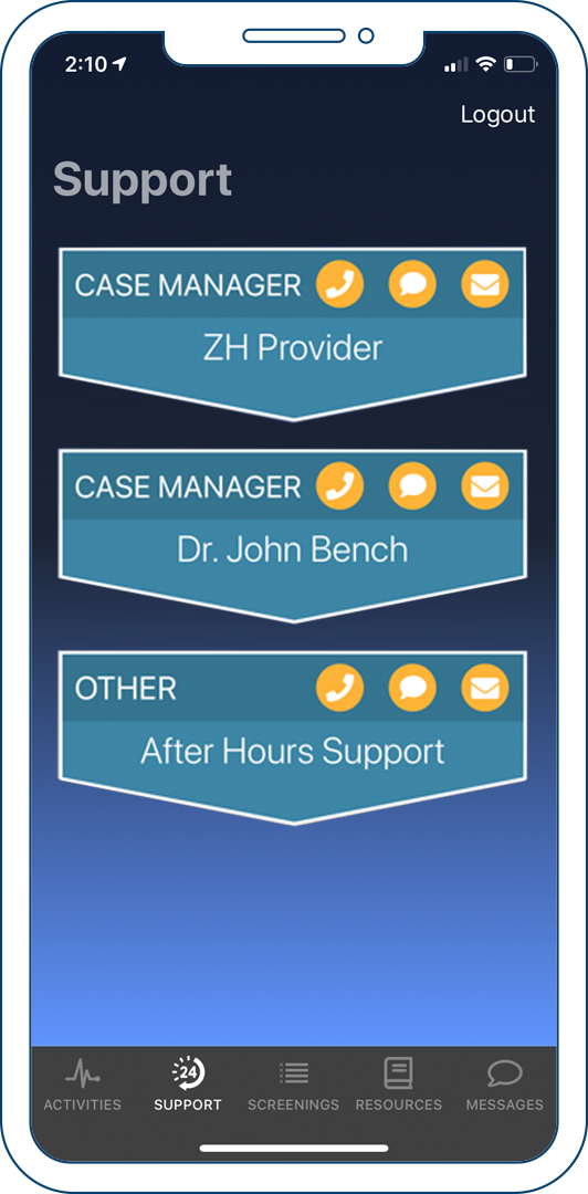The support tab of the Connected Care client app.
