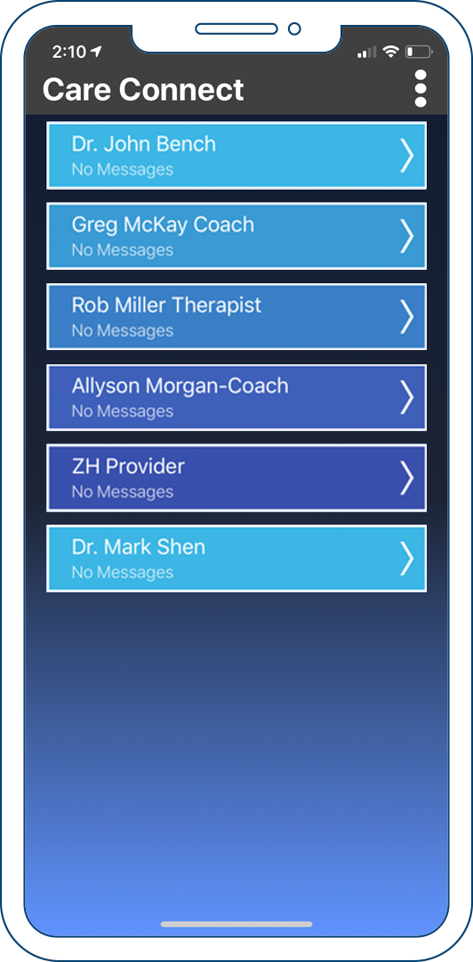 The home screen and rolodex of clients on the coach app.