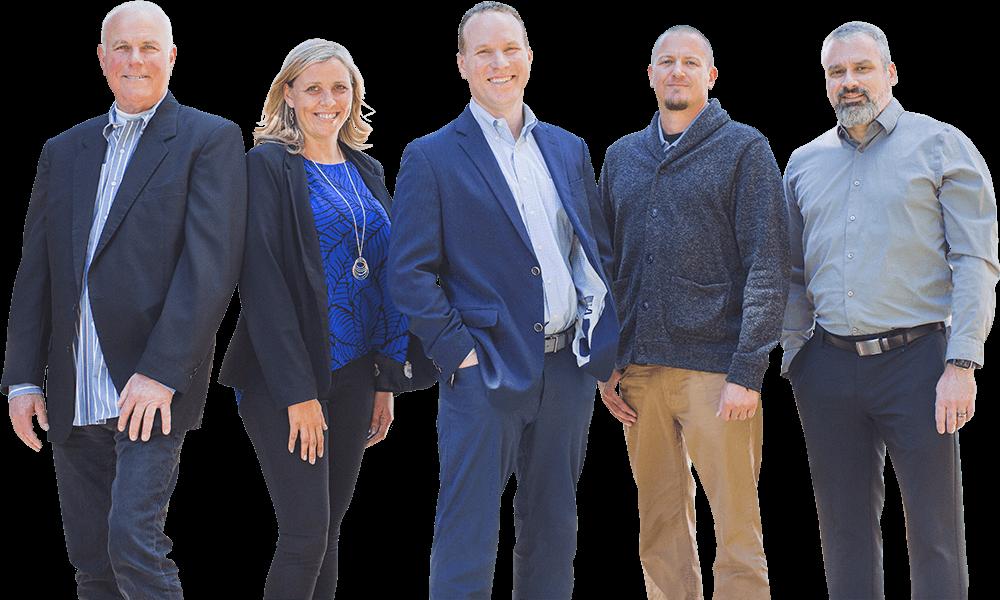 A ShareTek team photo, from left to right, Jamie Kling, Allyson Morgan, Steve Moak Jr., Zac Henry, and Ryan Eibling.
