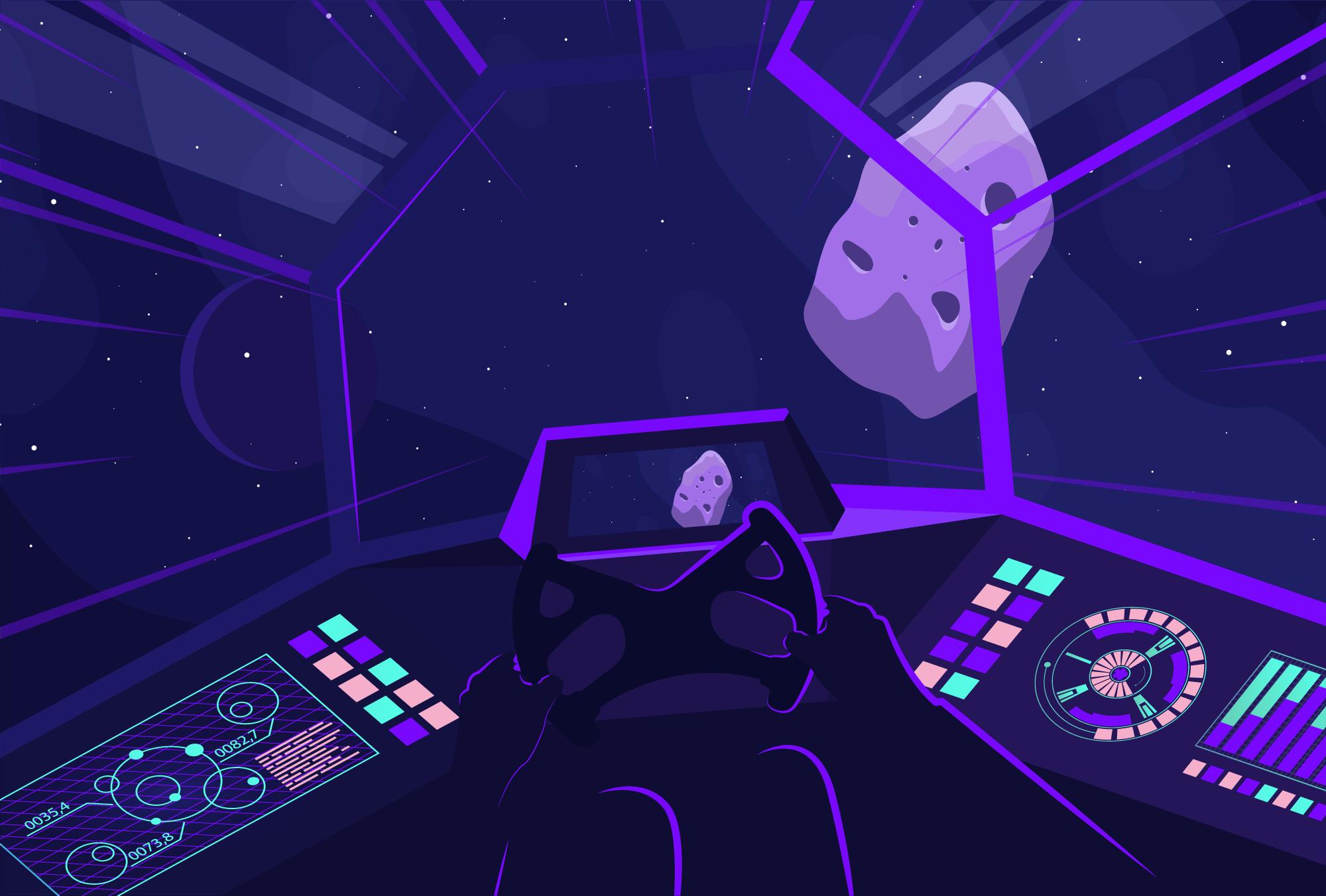 Astronauta esquivando-se da cadeia de asteróide blockchain