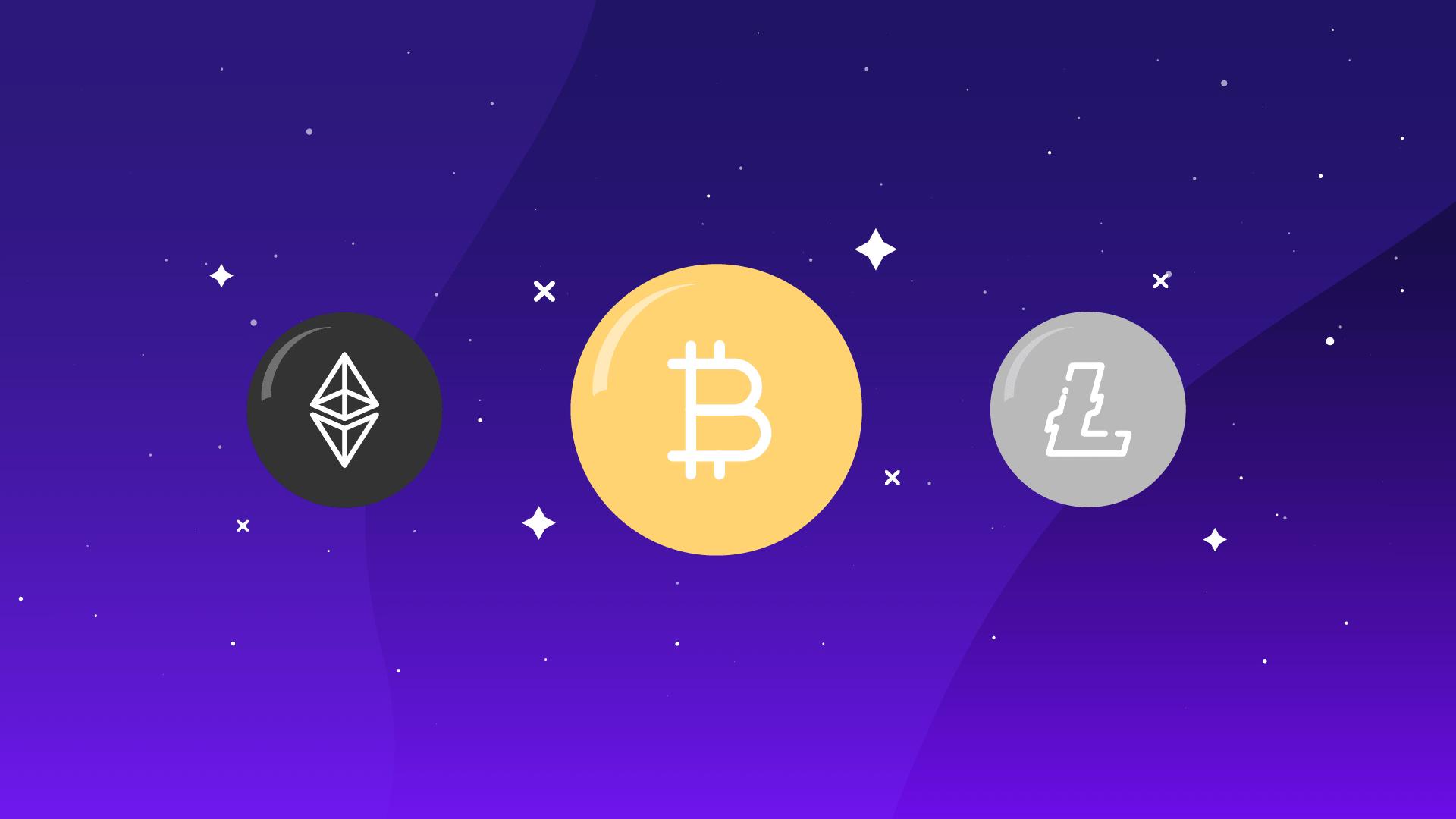 Bitcoin, Ethereum e Litecoin as principais criptomoedas