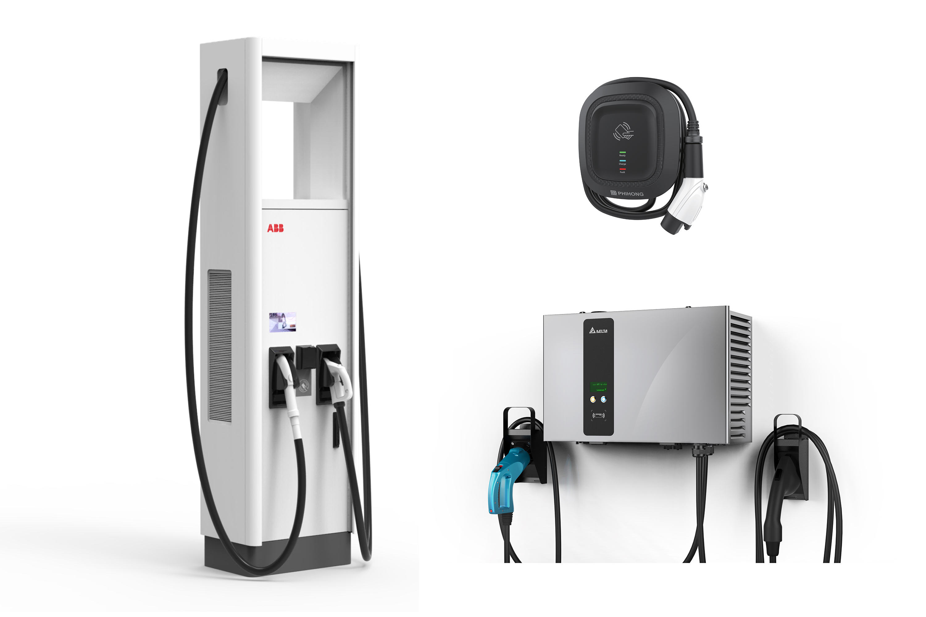 A selection of EV chargers supported by ChargeLab.
