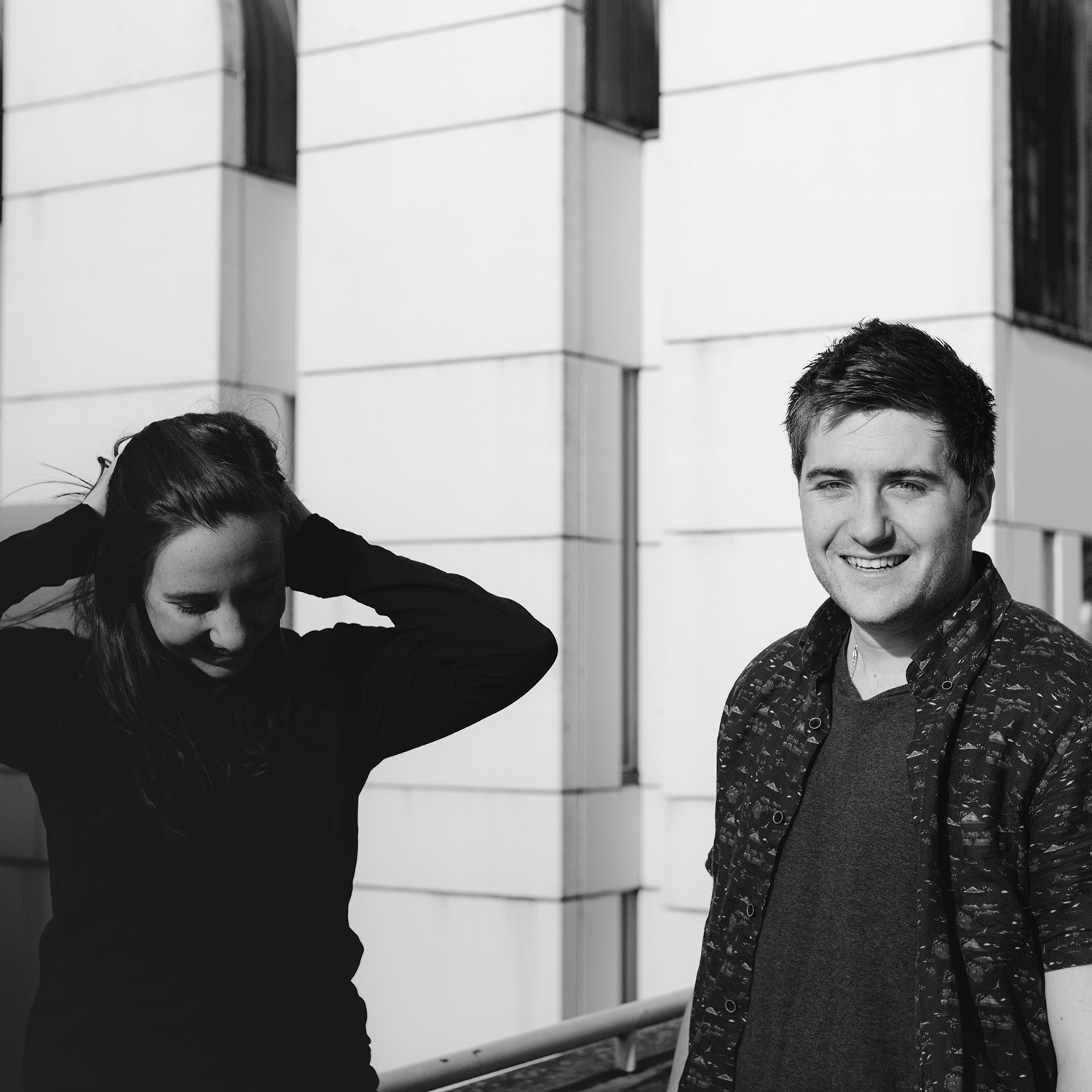 Image of founders Kelsey O'Hagan and David Sowry outside of the Bauhaus in Berlin