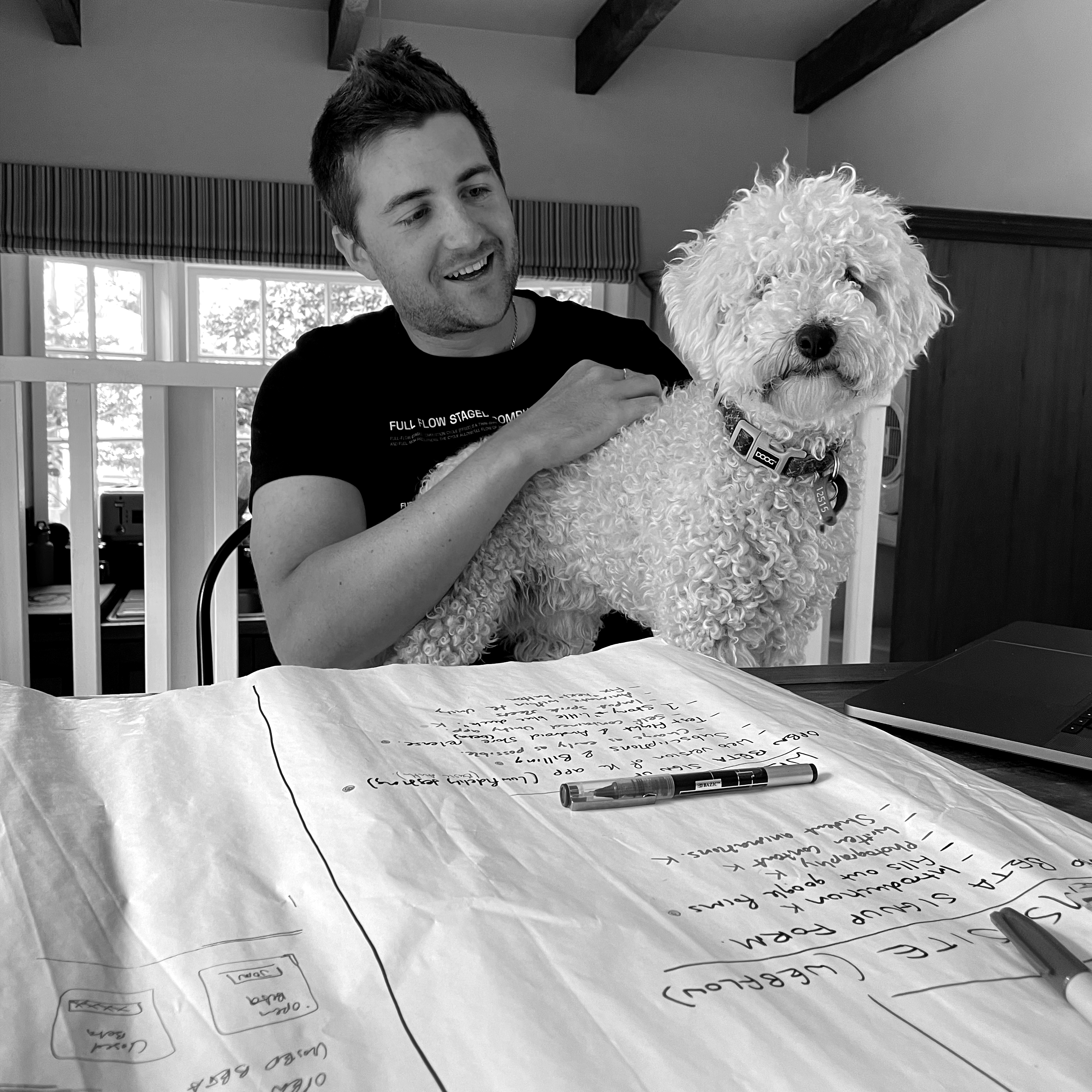 Founder, David and our studio puppy pal Teddy