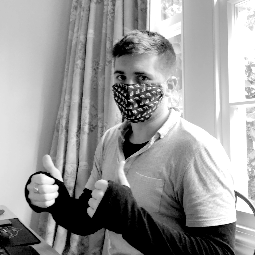 David, CTO with his new mask at his home office during the 2020 lockdown