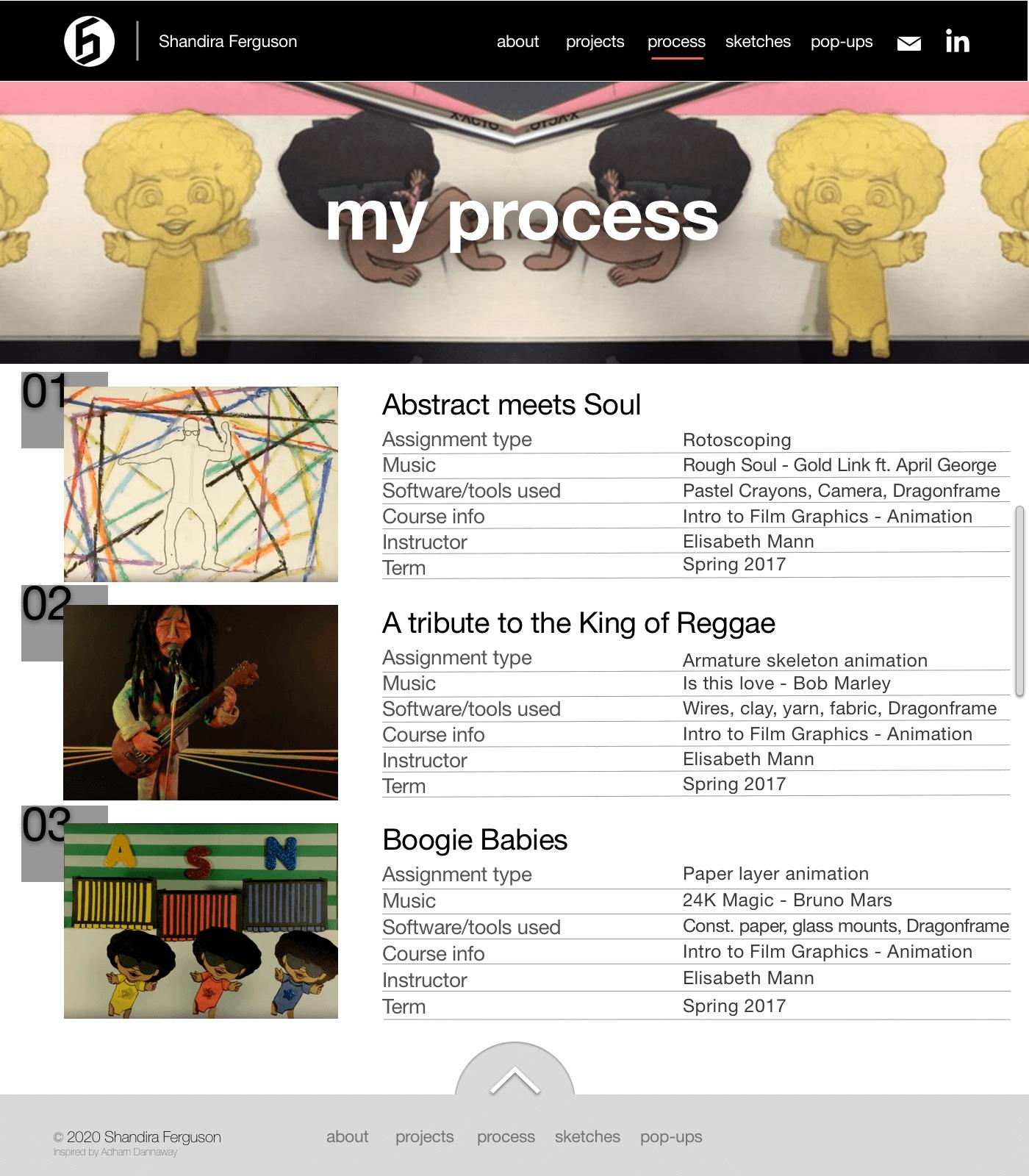 My process screenshot of my final website
