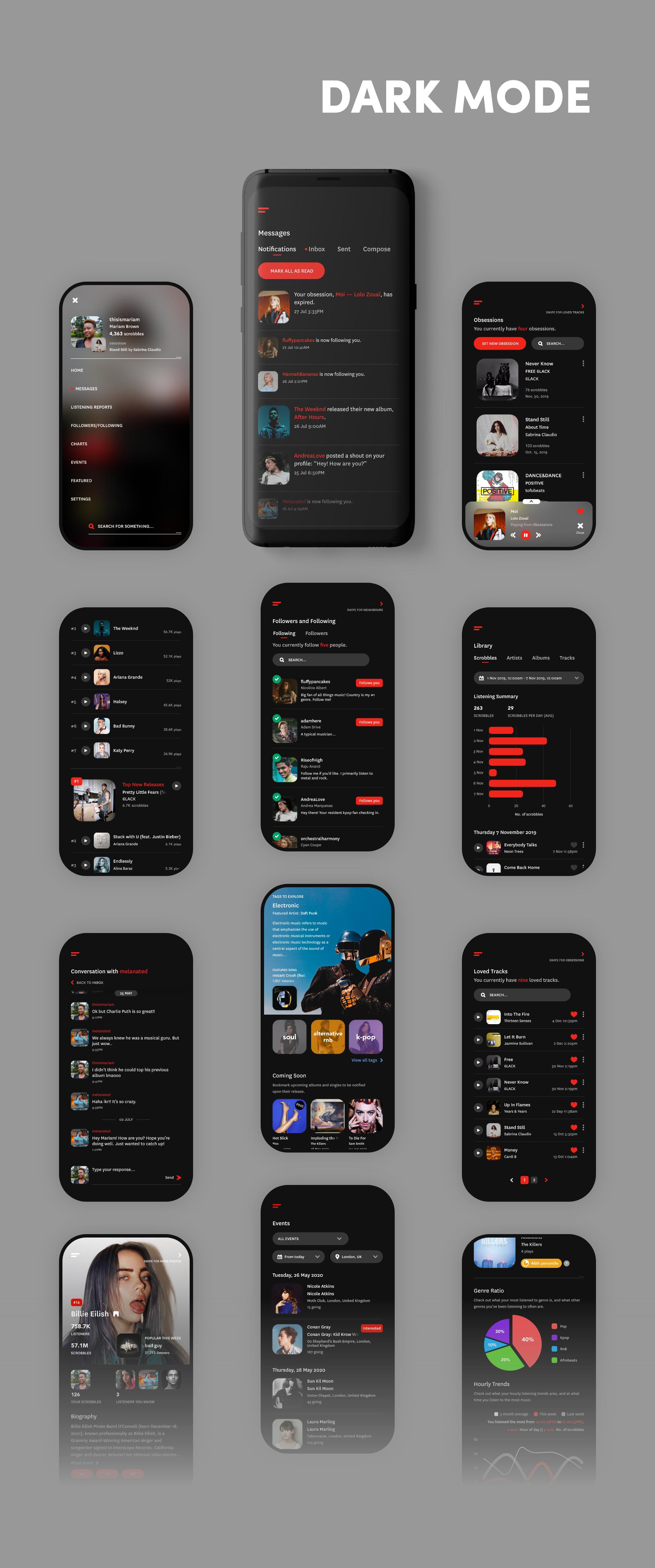 Dark mode screens