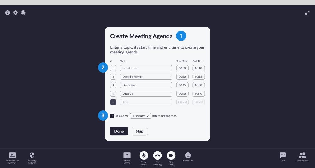 Wireframe - meeting agenda