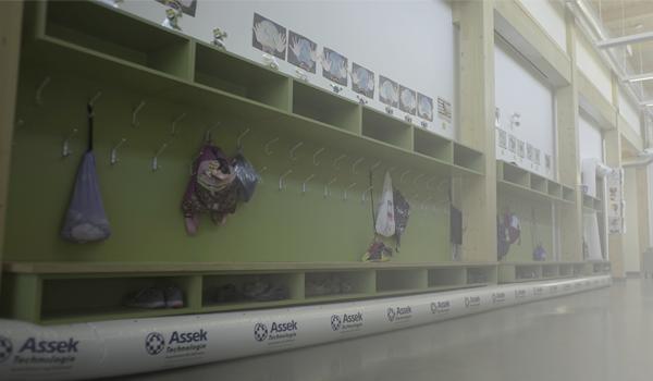 Assek Technology dewatering in a school corridor