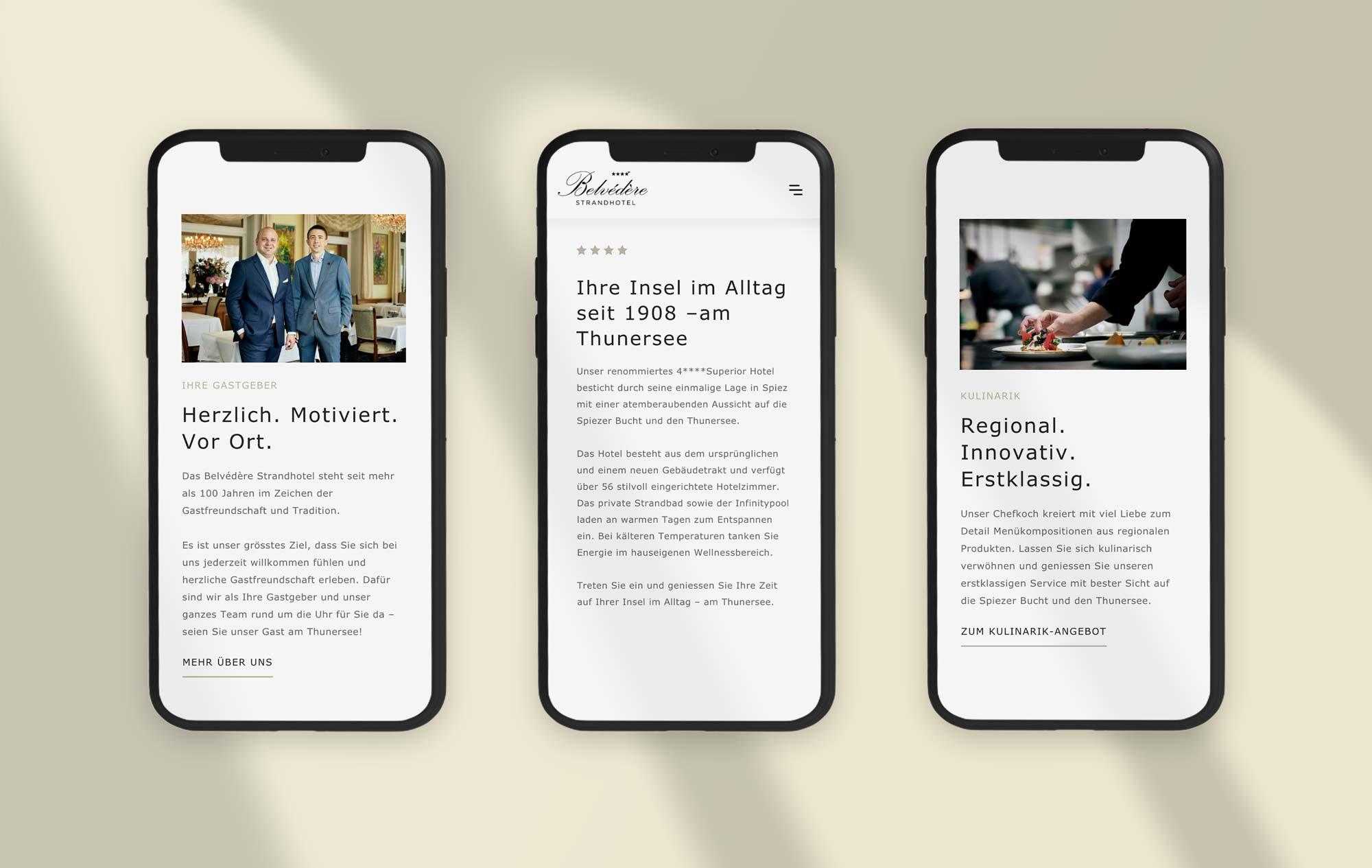Mobile web design Swiss hotel
