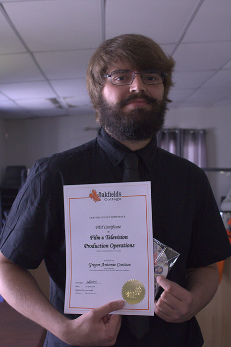Gregor Antonio Coetzee With His PET Certificate