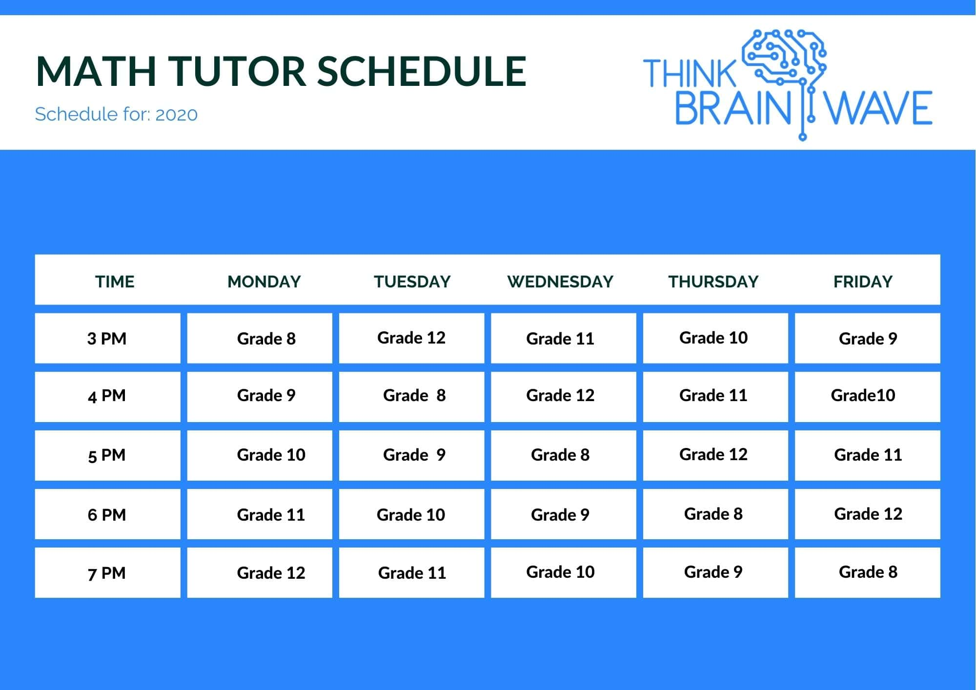 ThinkBrainwave - Math tutor schedule