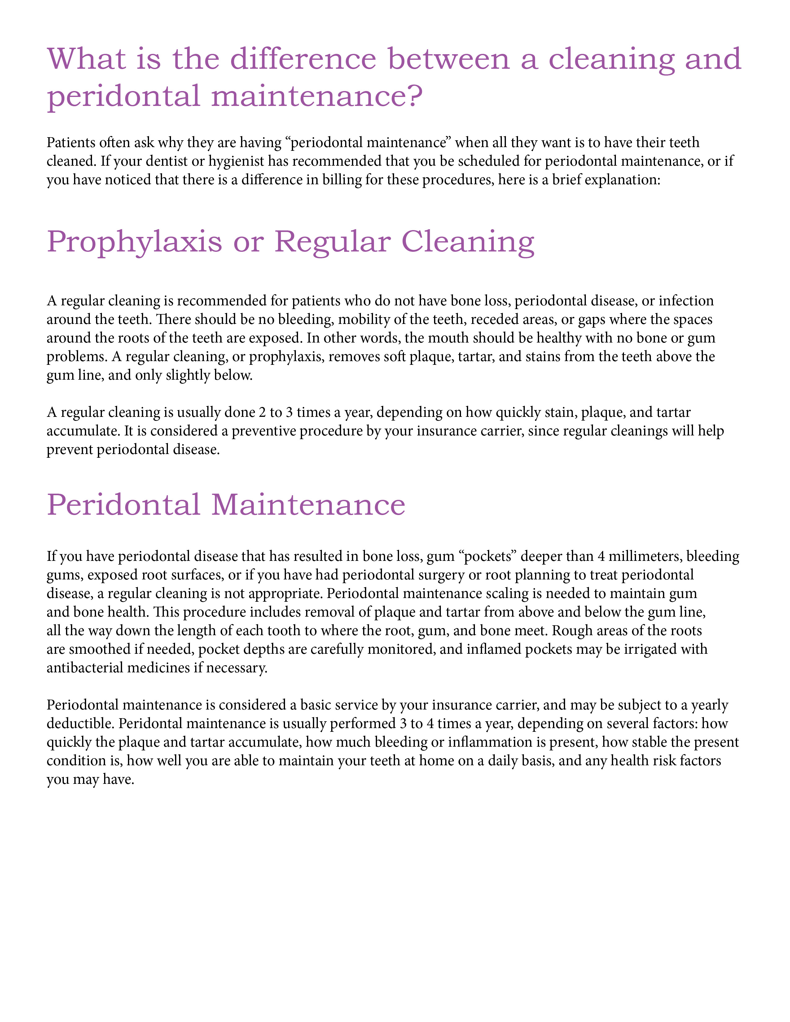 Difference between cleaning and maintenance