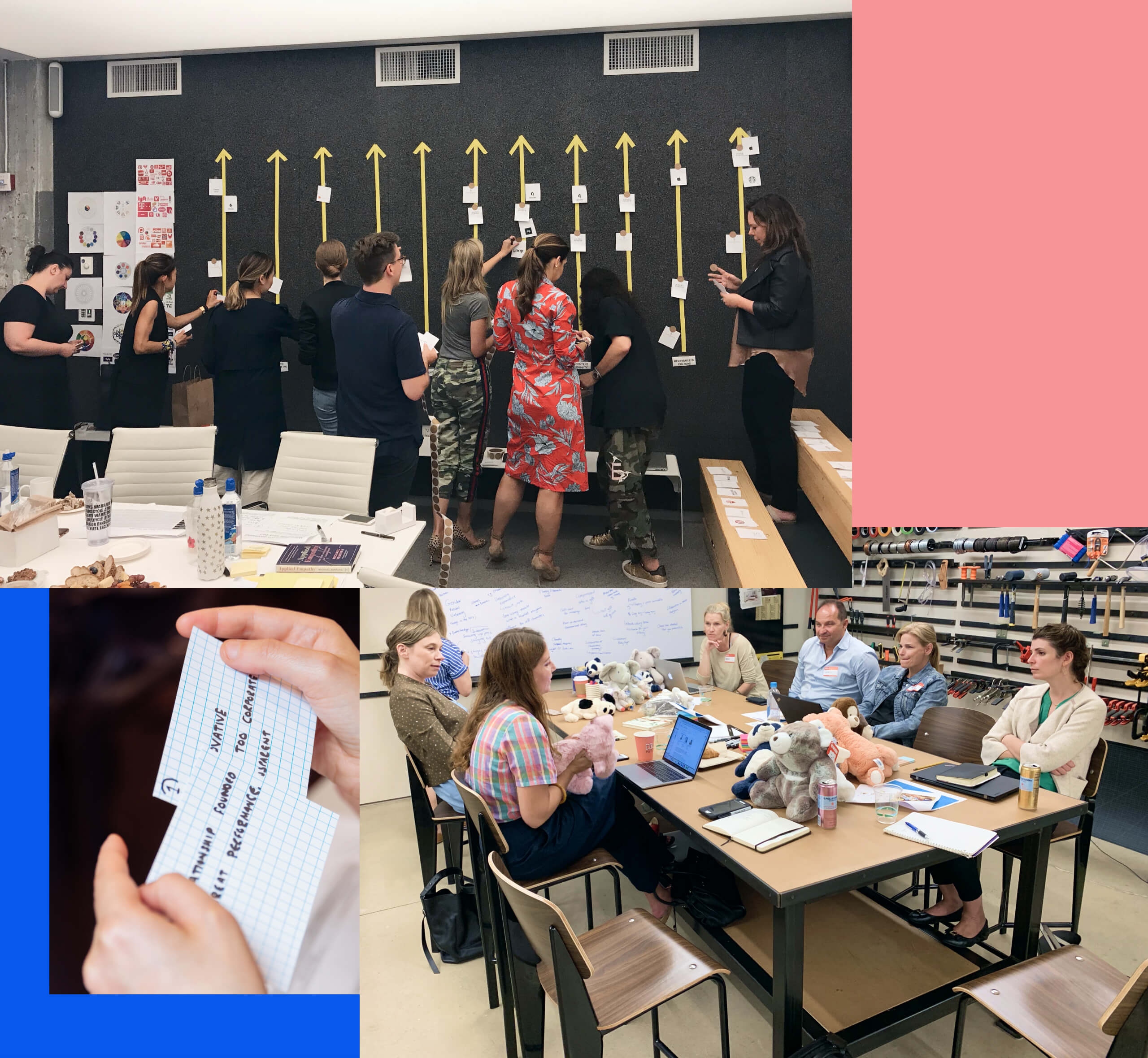 Several photos of collaborative workshops
