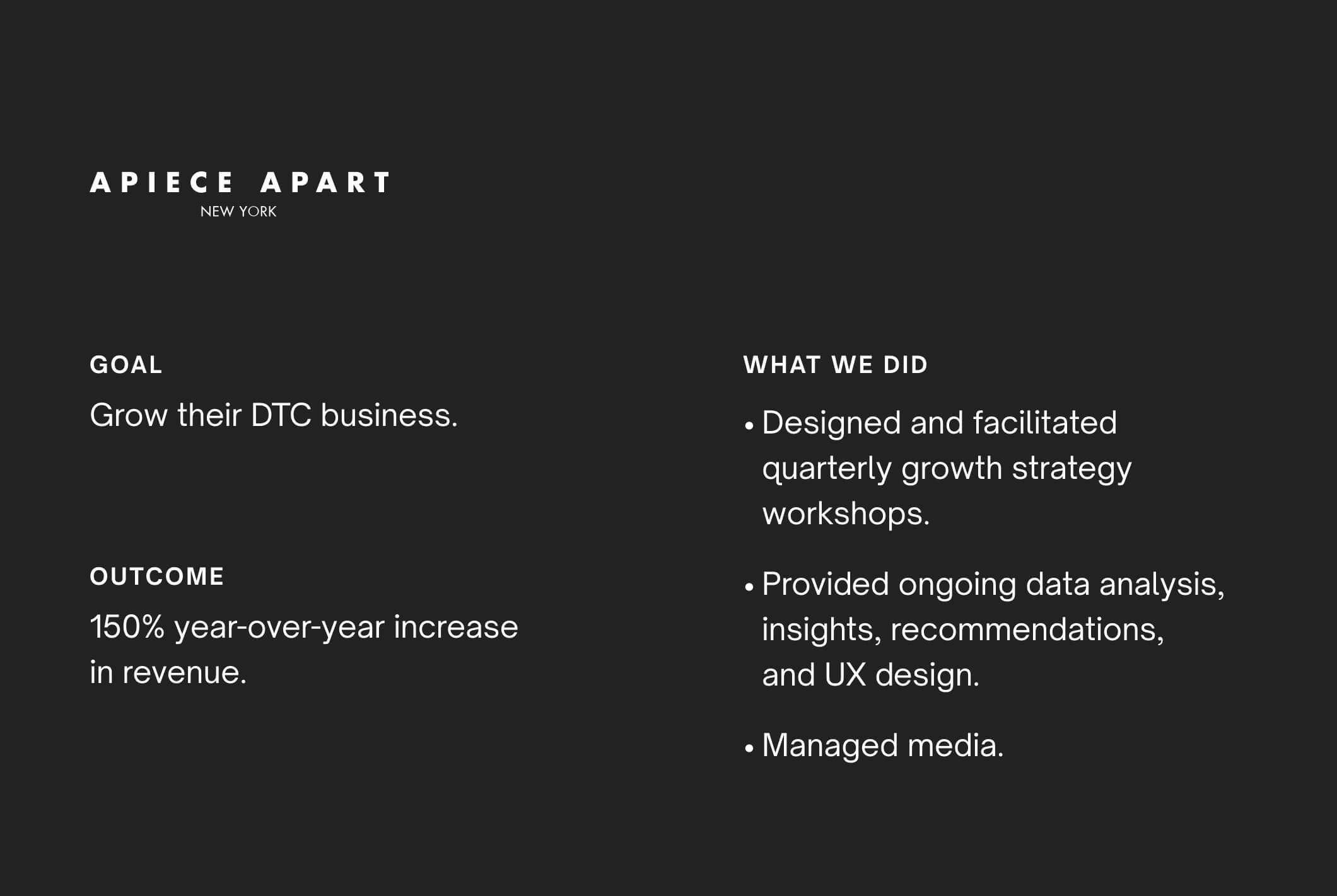 Case study: Apiece Apart - Designed and facilitated quarterly growth strategy workshops.