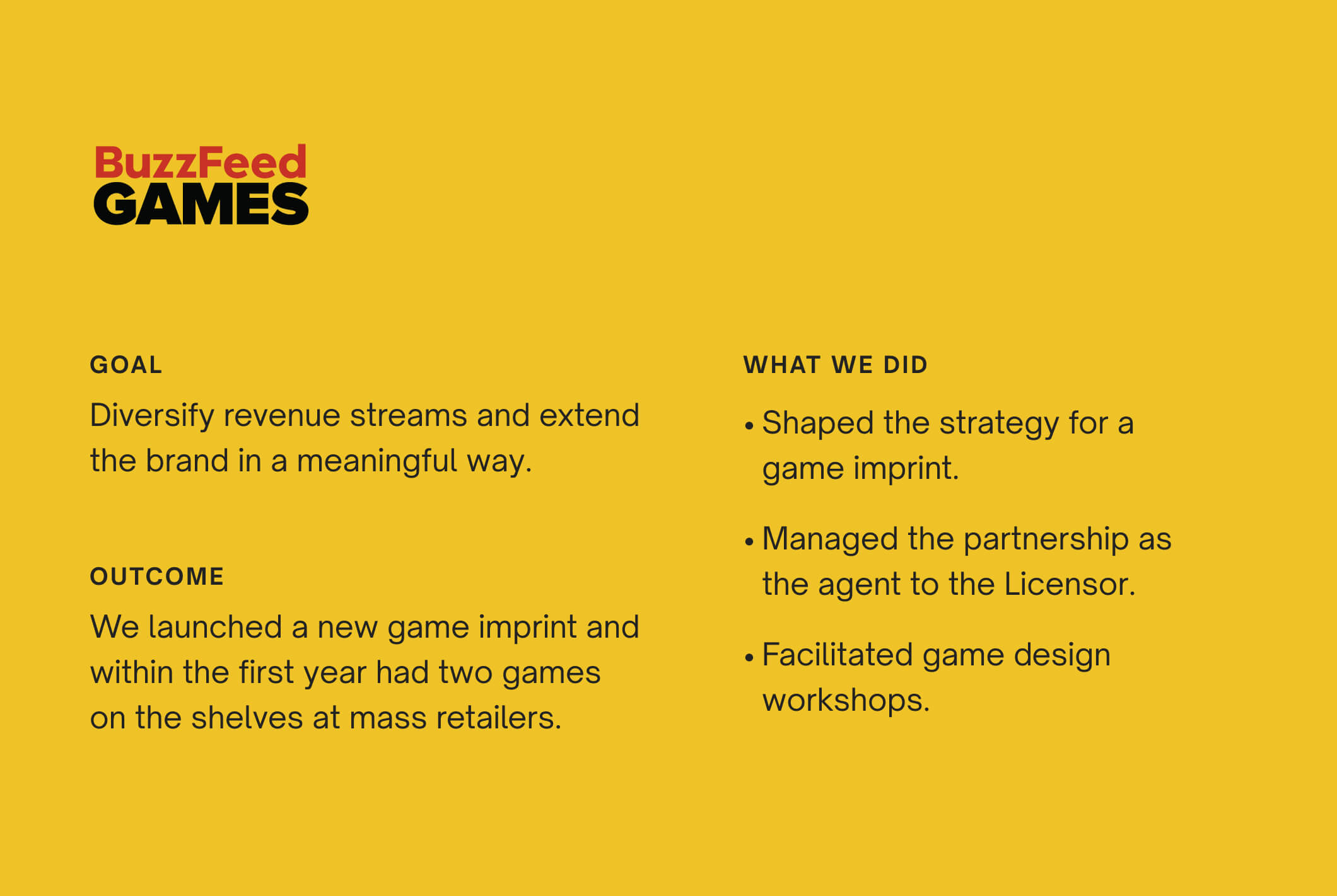 For BuzzFeed, Part and Sum helped diversify revenue streams by acting as a licensing agent and creating BuzzFeed Games