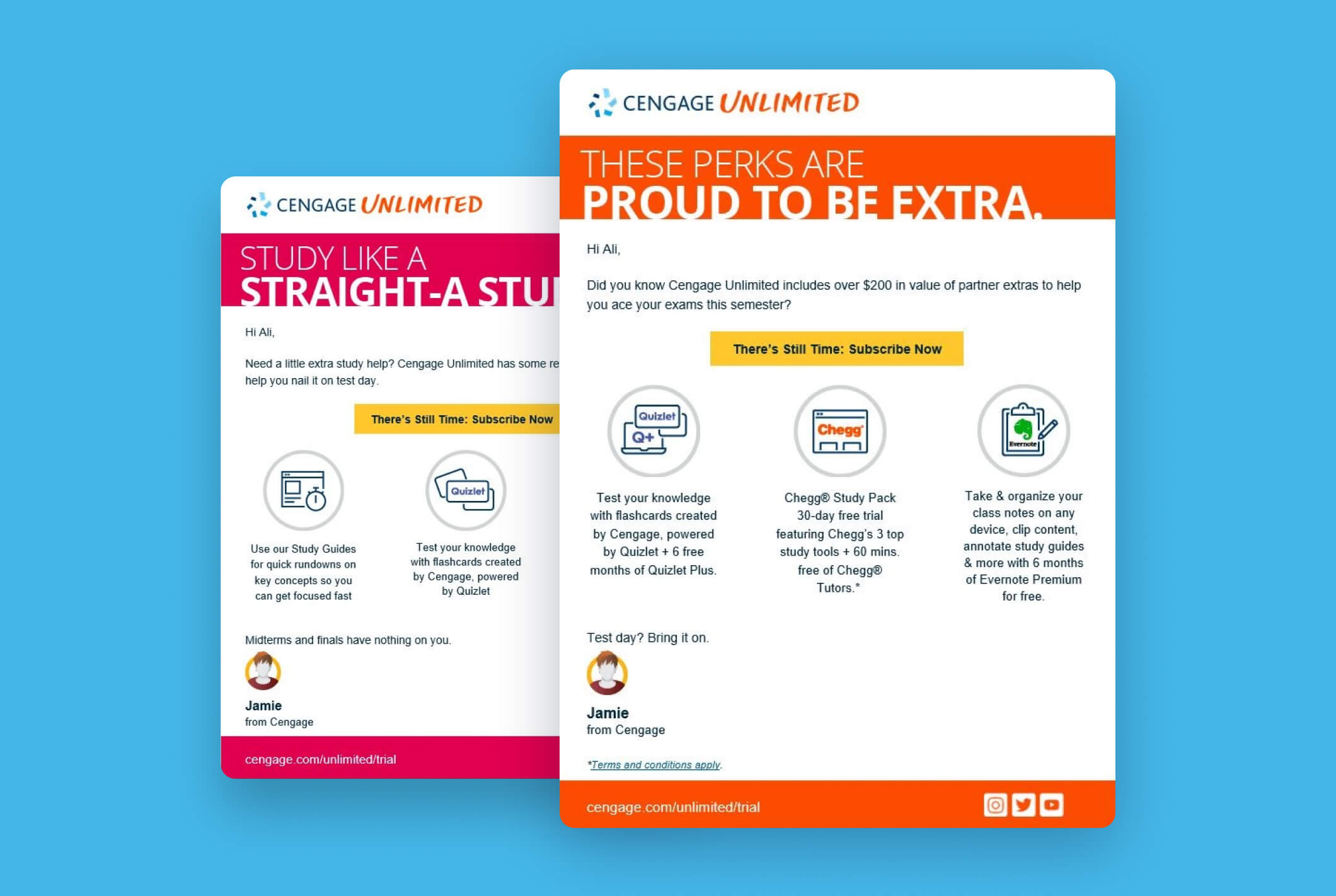 Cengage Unlimited customer-centric emails