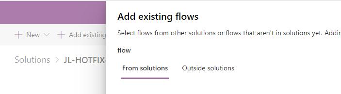 Dynamics 365 Add existing flows via power apps