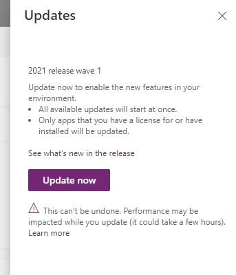 Dynamics 2021 release wave 1 update dialogue