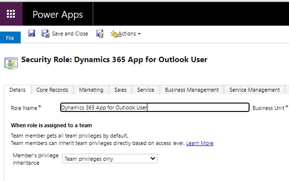 Dynamics 365 app for outlook user security role