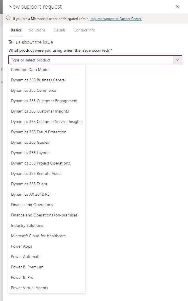 Power platform admin center - new support request