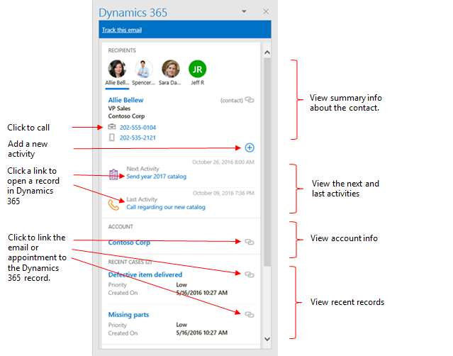 Dynamics 365 App for Outlook pane