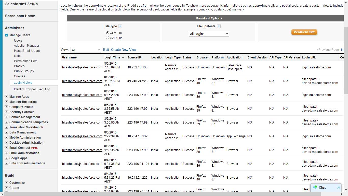 Reporting of login history - Salesforce Developer Community