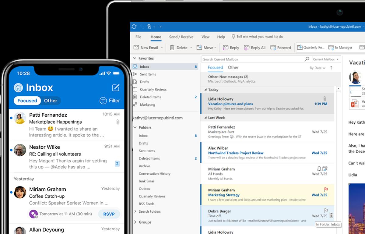 Outlook online and desktop