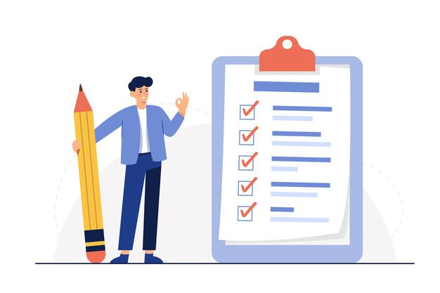 Businessman holding pencil at big complete checklist with tick marks Free Vector