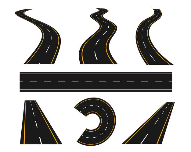 Tracks and winding road curve pathway set Free Vector