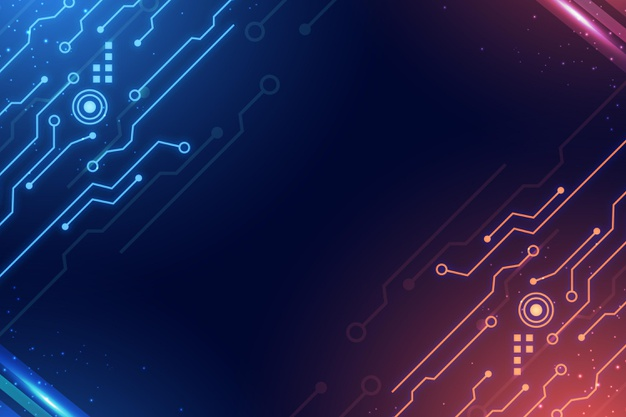 Circuits blue and red gradient digital background Free Vector