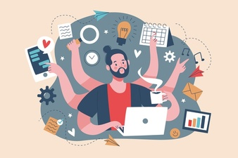 Adult male multitasking concept Free Vector