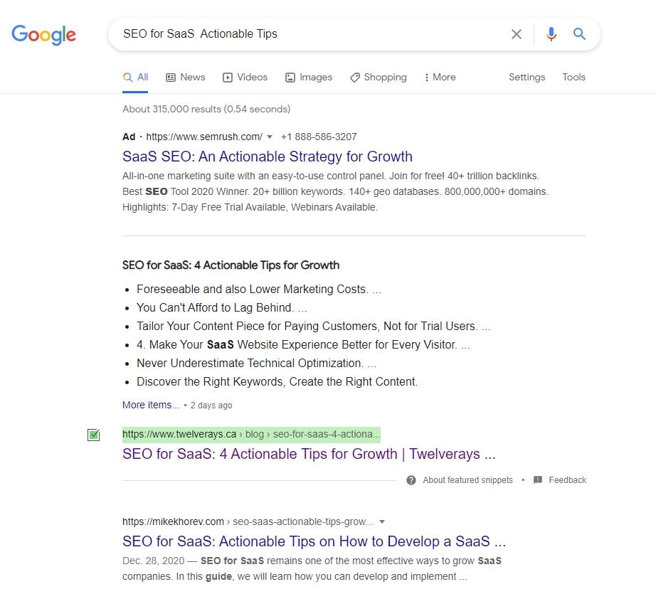 Twelverays ranking first page on Google.