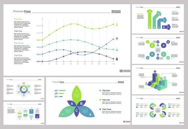 Eight analytics slide templates set Free Vector
