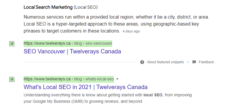 Twleverays local seo demonstration. We are on first page of google