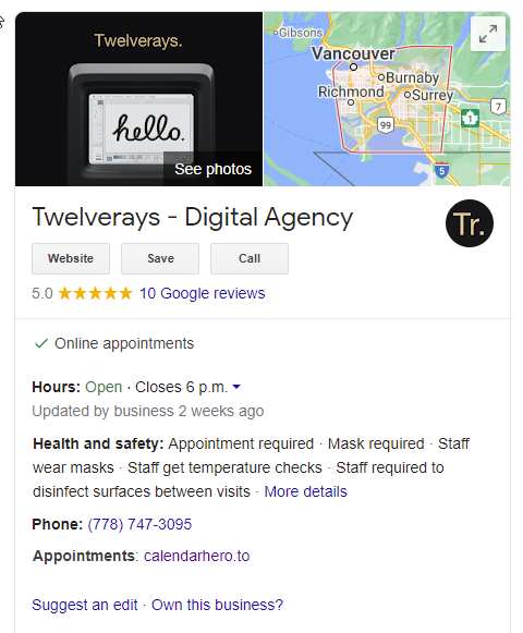 twelverays google local search showing google my business