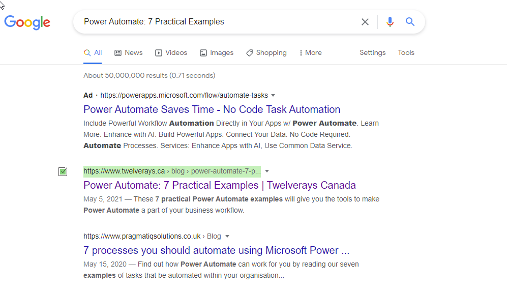 twleverays showing up first result on google