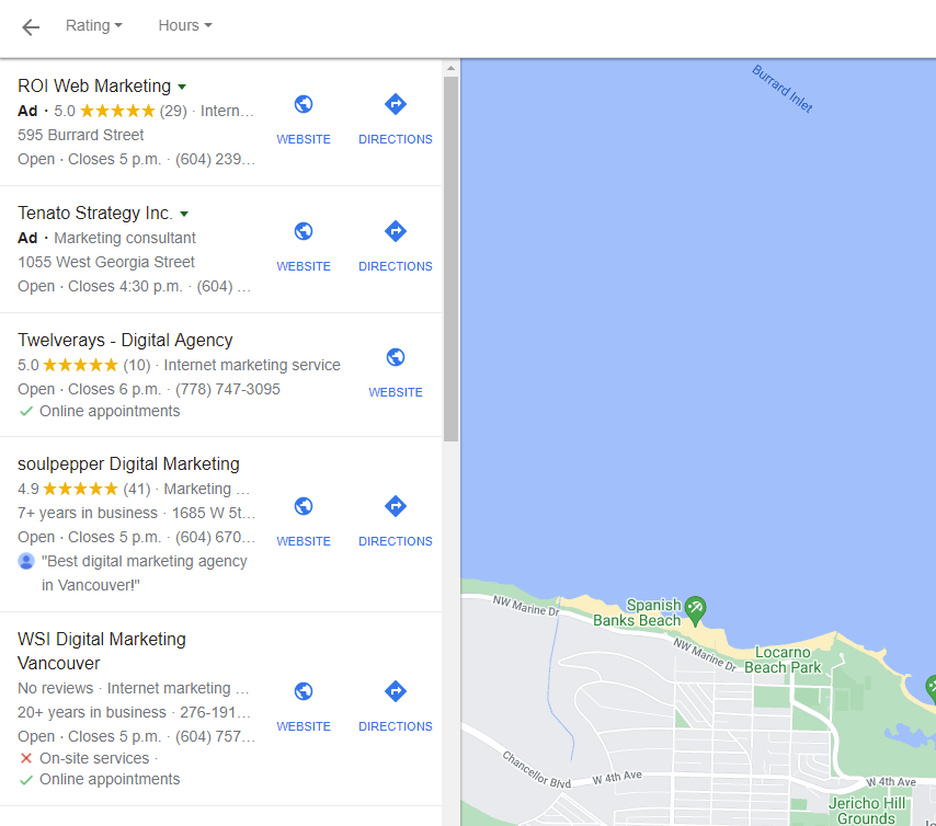 twelverays google my business listing showing up for local seo