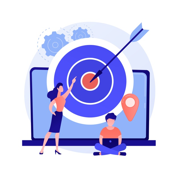 Target audience identification. brand consumers, loyal customers analysis, marketing survey. smm experts analyzing intended audience groups. Free Vector