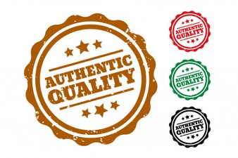 Authentic quality rubber stamps set of four Free Vector
